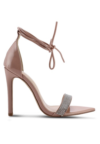 Public Desire 米褐色 Caffeine 鑽飾綁帶高跟鞋 5F326SH6D72C2EGS_1