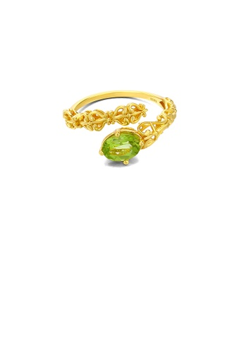 Glamorousky green 925 Sterling Silver Plated Gold Fashion Vintage Palace Style Adjustable Open Ring with Cubic Zirconia E593BACC47EE19GS_1