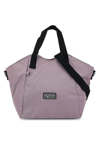 Bagstationz purple Contrast Zip Nylon Top Handle Bag A5DD1AC0CEF271GS_1