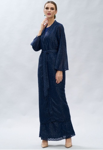 Loveaisyah navy Shimmer Abaya Pullover, Long Sleeves Top & Frill Skirt 3 pcs Set Modern Baju Kurung 66EA9AA57D8160GS_1