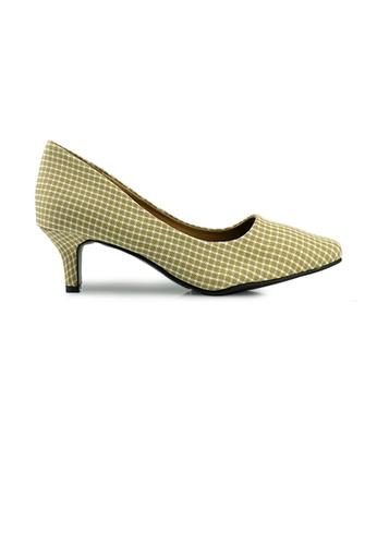 SHINE beige SHINE Point Toe Plaid Texture Fabric Pumps 2E0FESH025A1D0GS_1