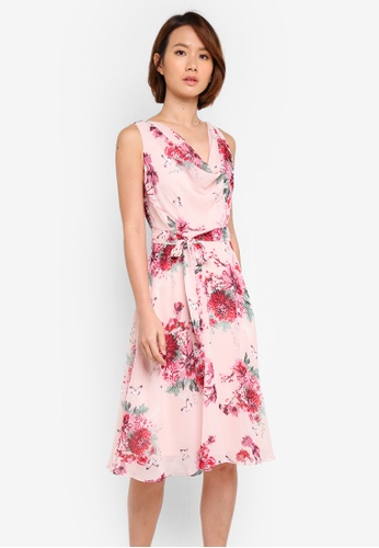 Dorothy Perkins pink Petite Blush Floral Midi E91F4AA2025D0FGS_1