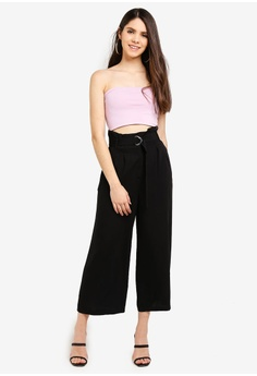 79afeabf5c Miss Selfridge Black Cropped Wide Leg Trousers RM 219.00. Sizes 6 8 10 12 14