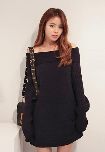 一字肩波紋針織連衣zalora 包包評價裙, 服飾, 短洋裝