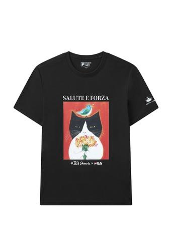 FILA black FILA x Pepe Shimada Unisex Tuxedo Cat Print Cotton T-shirt A6776AA340DAA2GS_1