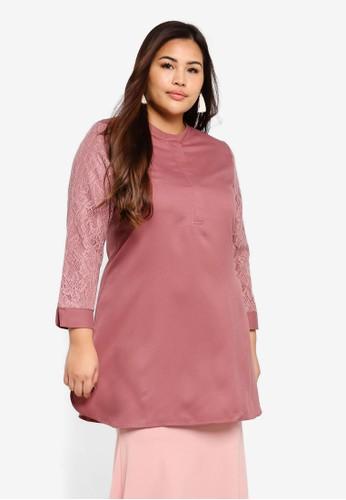 BYN pink Plus Size Muslimah Blouse 88704AA2827470GS_1