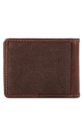 Volkswagen brown Volkswagen Genuine Leather & Canvas Bi-Fold Wallet VO089AC95EJWMY_1