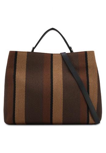 ZALORA brown Canvas Tote Bag C2B34ACF99FAFAGS_1