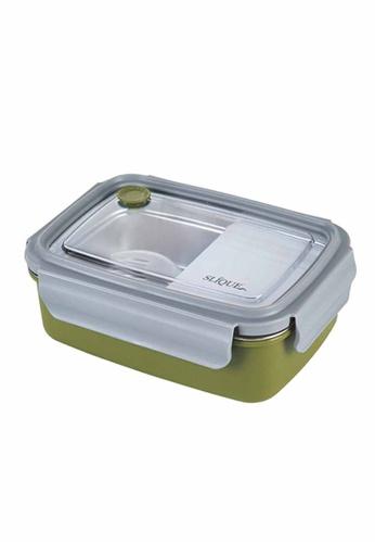 Slique green Stainless Steel Lunch Box 800ml 45F3CHLF5D25D8GS_1