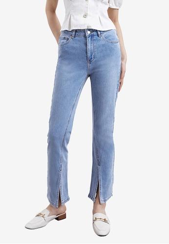 Urban Revivo blue Washed Slits Jeans 40A44AA83CE9E5GS_1