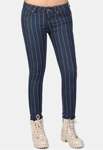 London Rag blue White Striped Skinny Jeans 8CAA8AA7519321GS_1