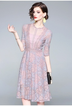 728d1ed947c4 Sunnydaysweety pink New Lace Mid-Sleeve A-Line One Piece Dress CA032510  C0A06AA92397F2GS 1