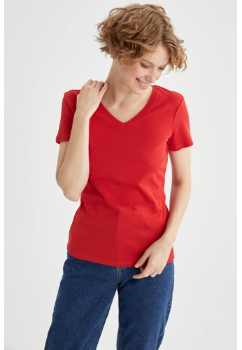 DeFacto red Woman Knitted Short Sleeve T-Shirt 33319AA47600DBGS_1