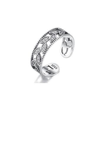 Glamorousky white 925 Sterling Silver Fashion Elegant Leaf Cubic Zirconia Adjustable Open Ring E7EFDAC6A7FD66GS_1