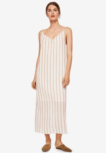 Mango beige Striped Long Dress 57AC2AAC8D2833GS_1