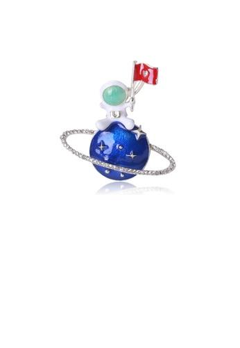 Glamorousky white Fashion Creative Enamel Planet Astronaut Brooch with Cubic Zirconia 2EC68AC6E9BF41GS_1