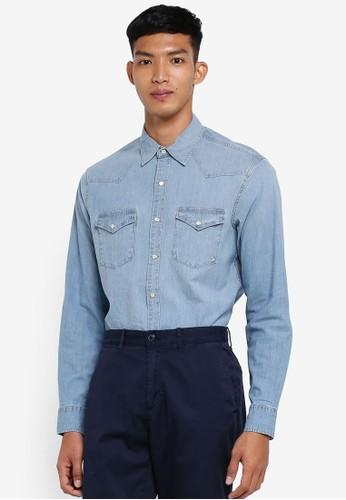 J.Crew blue Slim Chambray Western Shirt 7F2A0AAF6D0756GS_1