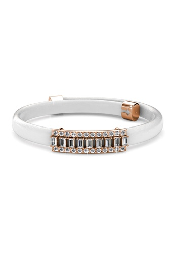 Her Jewellery gold Jame Leather Bracelet (White) - Made with premium grade crystals from Austria HE210AC65DNESG_1