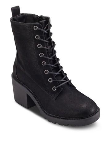繫帶粗跟率性短靴, 女esprit 評價鞋, 鞋