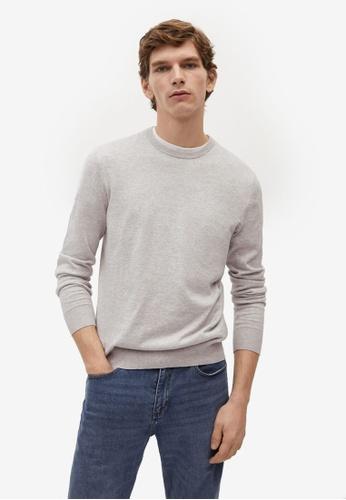 Mango Man grey Cotton Cashmere-Blend Sweater F16A5AAC4ECEF4GS_1