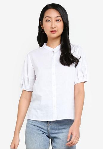 ZALORA BASICS white Boxy Button Down Shirt EF550AAE156368GS_1