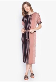 c8421fd35a DEBENHAMS black and brown Principles - Stripe Print Midi Dress  B6170AA68B2DB2GS_1