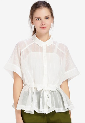 Hopeshow white Semi Sheer Loose Fit Button Blouse AE75CAA903E730GS_1