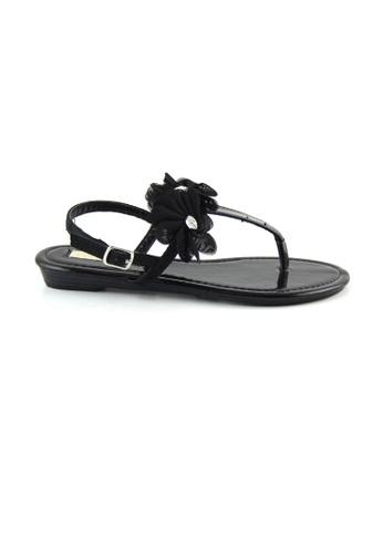 London Rag 黑色 London Rag女士黑色带花平底凉鞋 LO507SH0A4JVTW_1