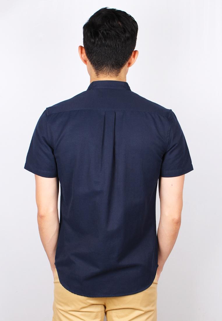 Classic Navy Sleeve Shirt Collar Moley Short Mandarin 0nqw6T0H