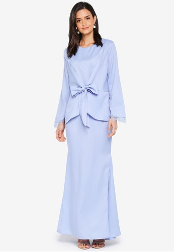 Lubna blue Front Knot Lace Sleeve Kurung 3C218AA0A108C7GS_1