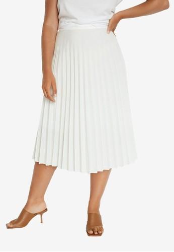 Violeta by MANGO white Pleated Midi Skirt 76FFFAABE5C1A8GS_1