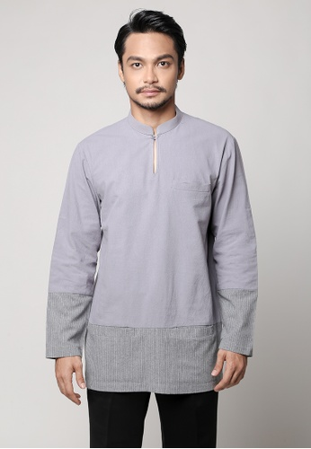 Kylez by Syafiq  Kyle grey Aslan Modern Kurta in Light Grey F5471AA5F16A42GS_1