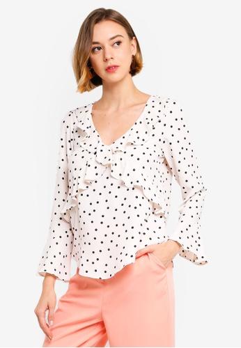 6b05ed60b2c6fb Buy Wallis Petite Blush Polka Dot Print Top