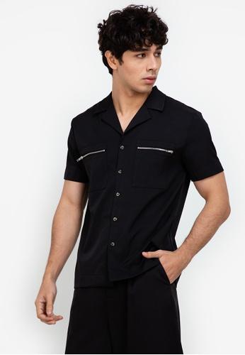 ZALORA BASICS black Zipped Pocket Shirt E14BEAA16BAEA7GS_1