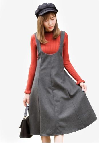 Tokichoi grey Basic Knit Pinafore Dress 3DF3AAA3E969AFGS_1