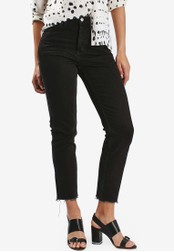 TOPSHOP black Moto Raw Hem Straight Leg Jeans TO412AA11SAYMY_1