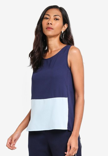 ZALORA BASICS blue and multi and navy Basic Sleeveless Double Fold Top D854BAAF027968GS_1