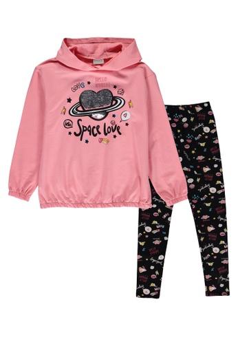 LC Waikiki pink Girl's Sweatshirt and Leggings 3CC00KA68A3EAAGS_1