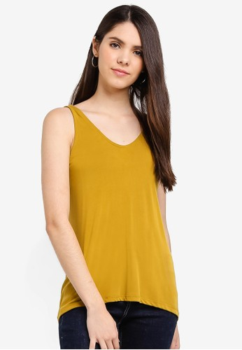 Cotton On yellow Tia Scooped High Low Tank Top BD64FAA81A7A32GS_1