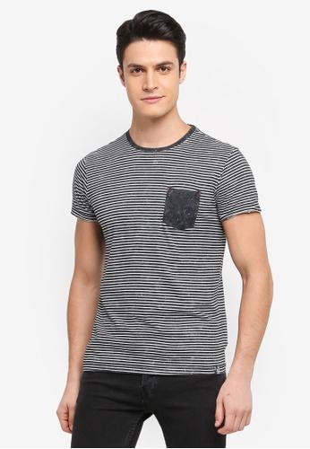 Indicode Jeans 黑色 短袖條紋口袋T恤 4E265AA9547499GS_1