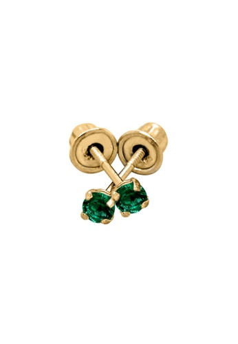 Piccolo Mio yellow Baby & Kids 14K Gold May Birthstone Earrings - Emerald 23201KC756C2A0GS_1