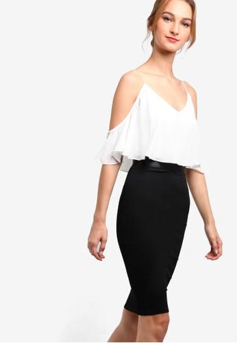 Marly 細肩帶挖肩層次撞色連身esprit outlet hk裙, 服飾, 洋裝