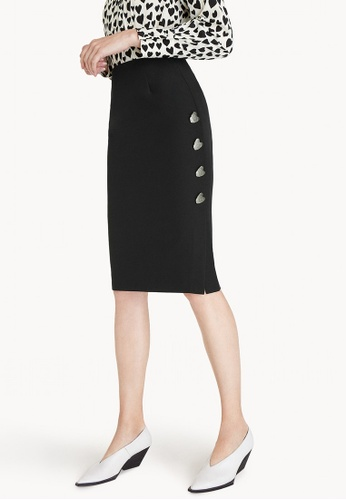 Pomelo black Midi Heart Buttons Side Skirt - Black D0CD3AA906599EGS_1
