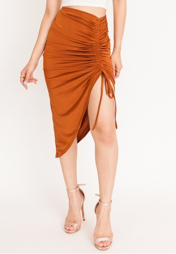 Hook Clothing orange and brown Asymmetrical Ruched Bodycon Skirt 5A076AADFBAD79GS_1