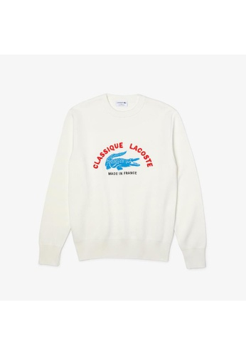 Lacoste white Men's Made In France Crew Neck Embroidered Stretch Cotton Sweater 84E90AA4396C3BGS_1