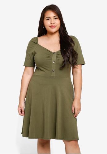 **Dp Plus Size Khaki Ruched Dress