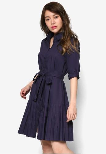 褶飾裙擺襯衫長袖esprit暢貨中心洋裝, 服飾, 洋裝