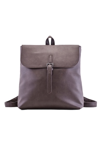 Vince brown Lady's Casual Retro PU Leather Backpack School Travel Backpack(Brown) FL898AC69VUCMY_1