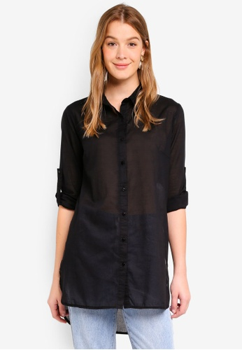Cotton On black Longline Fashion Shirt 28537AAB535F71GS_1