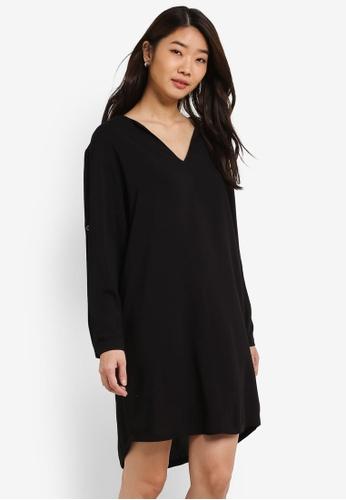 ZALORA black V Front Dress 90858AA340DC1BGS_1